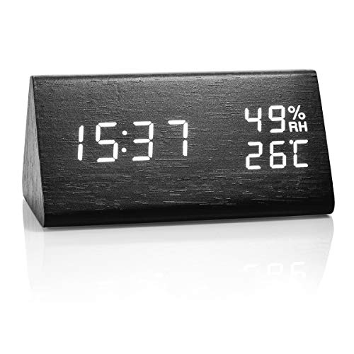 Triangle Black Clock (Idealin Alarm Clock Wooden Made LED Display with 3 Level Brightness Dimmer Temperature Humidity USB Port for Charging Ideal for Home and Office)