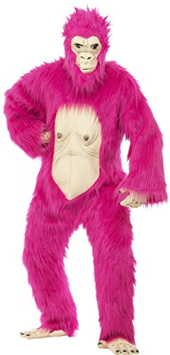 [Smiffy's Men's Deluxe Gorilla Costume Neon Bodysuit with Latex Mask Hands and Feet, Pink, One Size] (Pink Gorilla Suit)