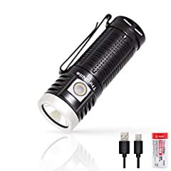 T1 Specification LED: Cree XHP-50 LED. Battery: 1 *1100mAh 18350 ( included)  Dimension: 69.5mm*26.5mm*22mm  Weight: 45 gram without battery. Reflector: Orange Peel Aircraft quality aluminum body structure. Premium Type III hard anodized anti...
