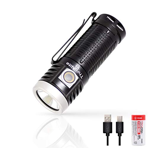 ThruNite T1 Magnetic Tailcap Handheld Flashlights, Rechargeable USB EDC Flashlight, Stepless Dimming 1500 lumens Pocket Flashlight, CREE XHP50, 1100mAh Battery Included - CW