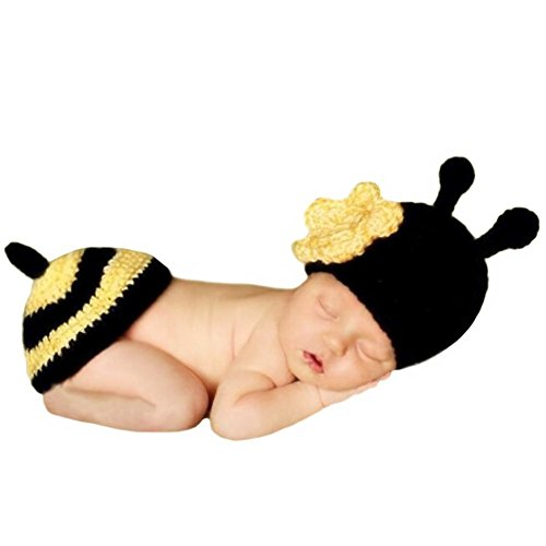 Newborn Baby Girl/Boy Crochet Knit Costume Photography Prop Hats and Outfits (Bee)]()