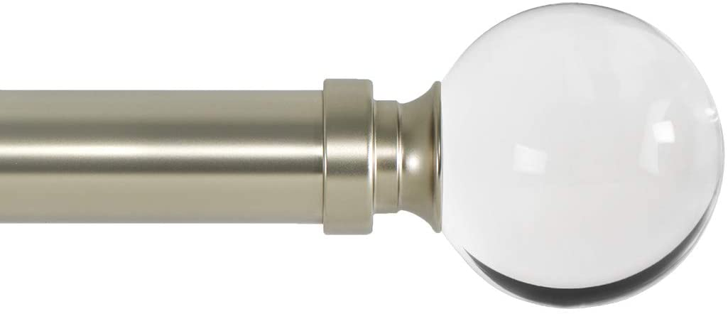 Ivilon Drapery Treatment Window Curtain Rod - Acrylic Ball 1 inch Pole. 48 to 86 Inch. Satin Nickel: Home & Kitchen