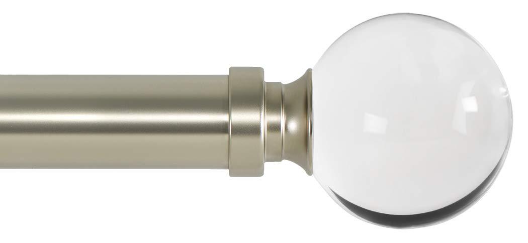 Ivilon Drapery Treatment Window Curtain Rod - Acrylic Ball 1 inch Pole 72 to 144 Inch. Satin Nickel by Ivilon