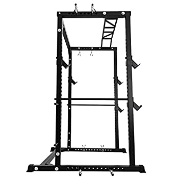 Happybuy Multi-Grip Chin-Up Fitness Power Rock Power Racks Weightlifting Power Rack Olympic Squat Cage Power Rack Cage System with Adjustable Bar for Home Gym BD-41