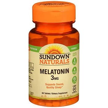 Sundown Naturals Melatonin 3 mg Dietary Supplement - 60 Tablets, Pack of 2