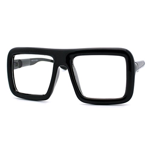 Thick Square Glasses Clear Lens Eyeglasses Frame Super Oversized Fashion Matte Black]()