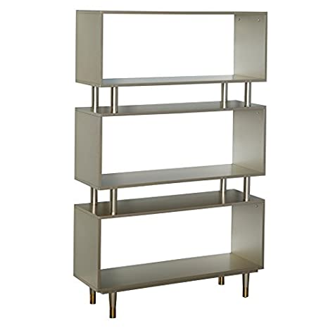 Cool Simple Living Products Modern Margo Mid Century 3 Shelf Bookshelf 59 5 Inches High X 36 Inches Wide X 11 8 Inches Deep Champagne Gold Lamtechconsult Wood Chair Design Ideas Lamtechconsultcom