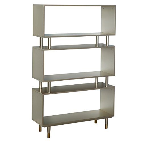 Simple Living Products Modern Margo Mid-Century 3-Shelf Bookshelf, 59.5 inches high x 36 inches Wide x 11.8 inches deep Champagne Gold