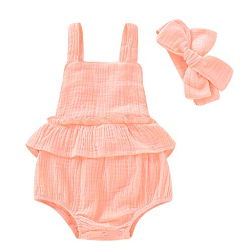 Little Story Summer Toddler Kid Baby Girls Strap Ruffled Solid Color Romper Jumpsuit Sunsuit