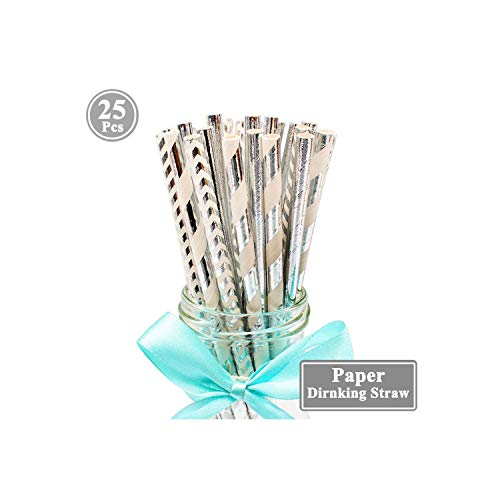 25pcs Paper Drinking Straws Birthday Party Decoration Kids Adult Baby Boy Girl Gender Reveal Wedding Supplies 1st,Mixed Silver (Best Tower Defence 2019)
