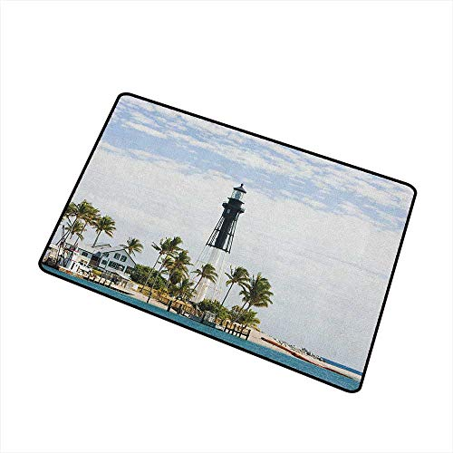 Wang Hai Chuan United States Commercial Grade Entrance mat Hillsboro Lighthouse Pompano Beach Florida Atlantic Ocean Palms Coast for entrances garages patios W15.7 x L23.6 Inch Blue White Green