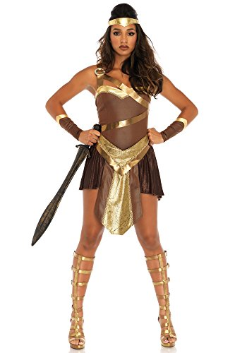 Leg Avenue Women's Golden Gladiator Warrior Costume, Brown Small -