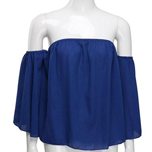 T Shirt paule T en Longues Tops Tee Sexy Femmes Solid Flounce Bleu Off Tops Covermason Mousseline Chemise Shirt Blouse Blouse Manches Chemisier rrdxqgwC