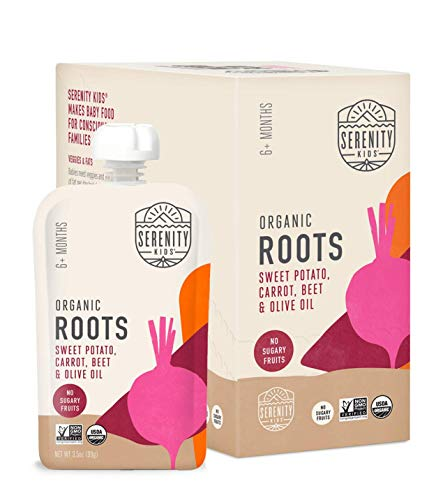 Serenity Kids Baby Food, Organic Sweet Potato, Carrot and Beet with Olive Oil, For 6+ Months, 3.5 Ounce Pouch (6 Pack)