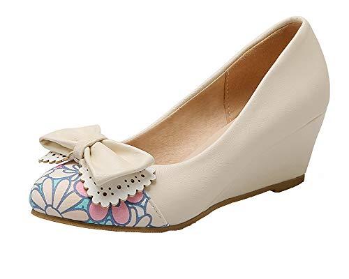 Chaussures Femme Rond Mélangées TSFDH005734 AalarDom Couleurs Talon Bas Légeres Beige Tire à 86qdU