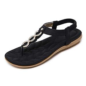SANMIO Sandalias Planas de Verano para Mujer Tanga Bohemia con Correa en T Zapatos de Tanga Chanclas | DeHippies.com