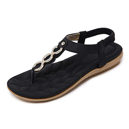 SANMIO Women Summer Flat Sandals Shoes,Bohemian T Strap Prime Thong Shoes Flip Flop Shoes Black ...]()