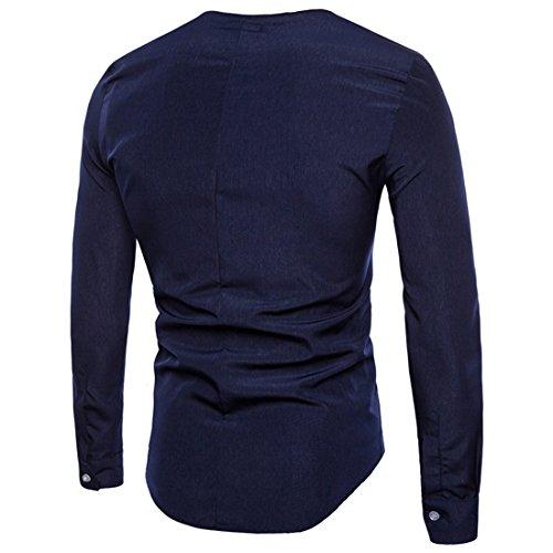 Col Marin Ai Manches Longues Shirt moichien Rond Bleu Hommes Chemises À 4rI4fYv