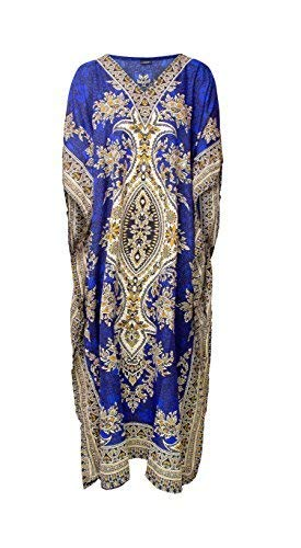 Rubina Kapoor RK Essentials | Tribal Ethnic Print Long Kaftan | Plus Size (Royal Blue)]()
