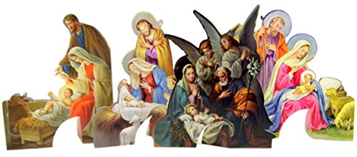 Card Christmas Nativity Scene (Religious Gifts Punch Out Assorted Christmas Nativity Scene Stand Up Holy Cards, 4 1/2 Inch (Single Sheet))