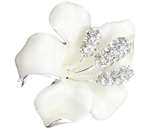 Hosaire Women's Lily Flower Brooch Pin Rhinestones Breastpin for Wedding/Banquet/Bouquet White (Brooch Lily Pin)