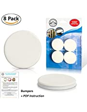 Wall Door Stop Bumpers by Be Strongest - White Soft Rubber Pads, 8 Pack - Self Adhesive Protector - Sound Dampening - Guard Your Wall Against Damage from Your Door Handle