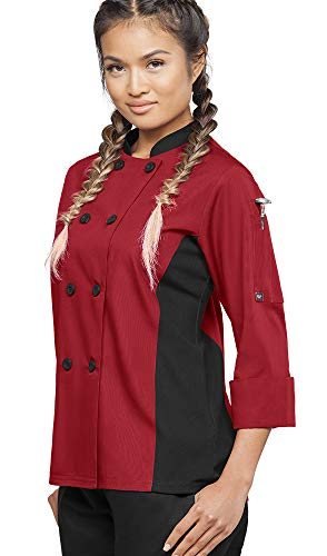 Womens 3/4 Sleeve Chef Coat Mesh Side Panels  (X-Small, Red/Black)