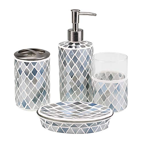 4-Piece Housewares Glass Mosaic Bathroom Accessories Set, Durable Bath Organizer Includes Soap Dispenser Pump, Toothbrush Holder, Tumbler, Soap Dish Sanitary, High Class Home Decor Gift (Green)
