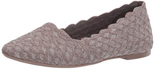 Skechers Women's Cleo-Scalloped Knit Skimmer Ballet Flat, Dark Taupe, 7 M US