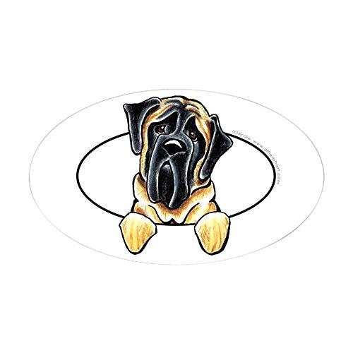 - CafePress Mastiff Peeking Bumper Oval Bumper Sticker, Euro Oval Car Decal