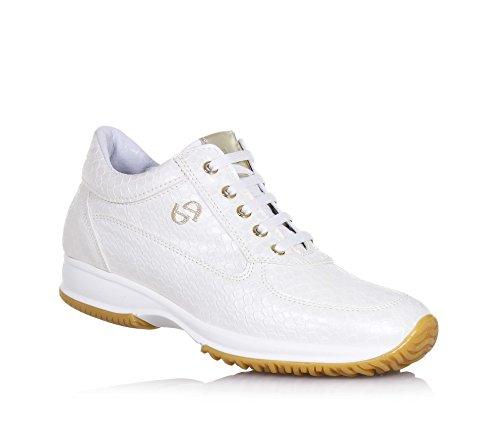 BYBLOS - Weißer Schuh mit Schnürsenkeln aus Leder, auf der Zunge ein goldener Ledereinsatz mit Logo, Mädchen, Damen
