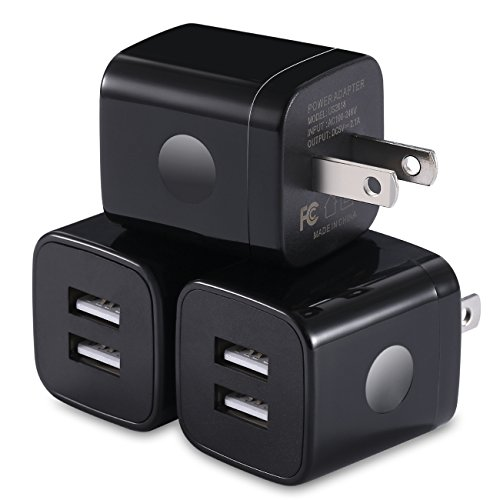 WITPRO Universal USB Wall Charger Plug Dual Port 2.1AMP Wall Charger Adapter Charging Block Compatible with iPhone X/ 8/7/ 6 Plus SE/5S/5C, iPad, Samsung, Moto, LG, More Android Phone (Black) 3-Pack by WITPRO