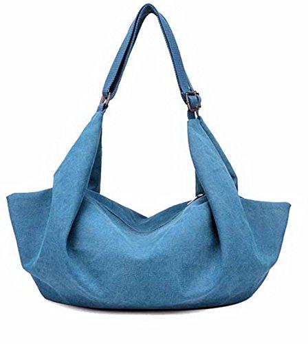 Odomolor Mujeres Lona Cremalleras Moda Casual Bolsos Cruzados Bolsas de Mano,ROPBL180688 Azul