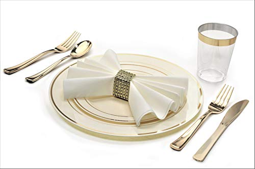 """ OCCASIONS "" 1080 pcs/120 Guest-Full Tableware Set – Wedding Disposable Plastic Plates Silverware, Gold Rimmed Tumblers & Linen Feel Napkins w/napkin Rings (Combo C, Ivory & Gold Rim)"