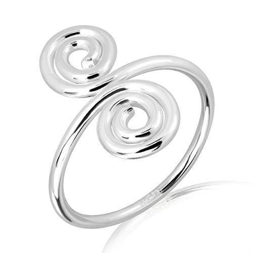 (WithLoveSilver Sterling Silver Swirls Wire Adjustable Toe Ring)