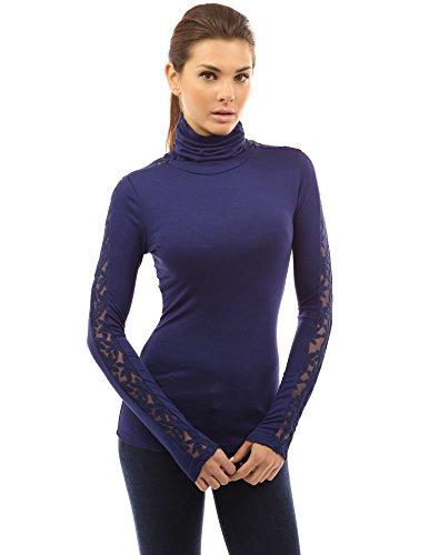 PattyBoutik Women Turtleneck Lace Inset Long Sleeve Blouse (Navy Blue Large)