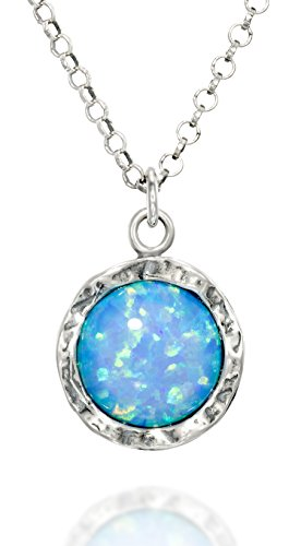 Shimmering 925 Sterling Silver Necklace with Round Created Blue Fire Opal Pendant, 18
