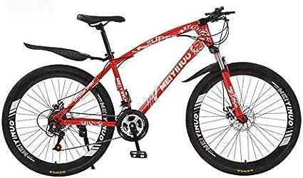 Ligero, Bicicleta de montaña for mujer for hombre, marco de acero al carbono de alta, resorte de suspensión Tenedor, doble freno de disco, PVC pedales y apretones de goma Liquidación de inventario
