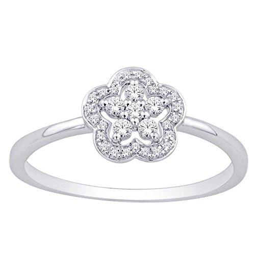 - Saris and Things 10K White Gold 0.12 Ct.tw. Diamond Flower Ring