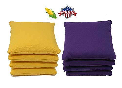 Cornhole Bags Set - (4 Yellow, 4 Purple) By Free Donkey Sports
