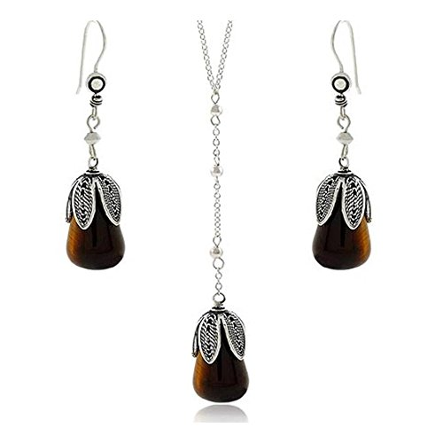 Sterling Silver Tiger Eye Dangle Earrings & Y Necklace Jewelry (Dangling Tigers Eye Necklace)