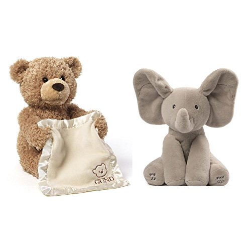 Gund Flappy the Elephant & Peek-A-Boo Bear Animated Plush Duo Bundle -