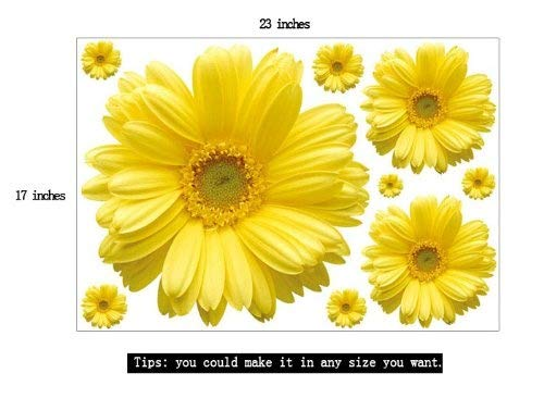 Set of 9 Yellow Chrysanthemums Daisy Flowers Wall Sticker Decal Home Decor for Living Bed Room Study TV Wall by Hithop (Image #3)