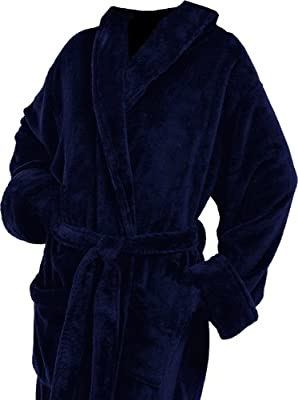 Plush Microfiber Navy Blue Full Monogrammed Bathrobes Christmas Gifts Her Him