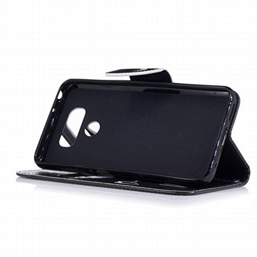 Custodia LG G6 / H870 Cover, Ougger Freddo Stile Portafoglio PU Pelle Magnetico Stand Morbido Silicone Flip Bumper Protettivo Gomma Shell Borsa Custodie con Slot per Schede