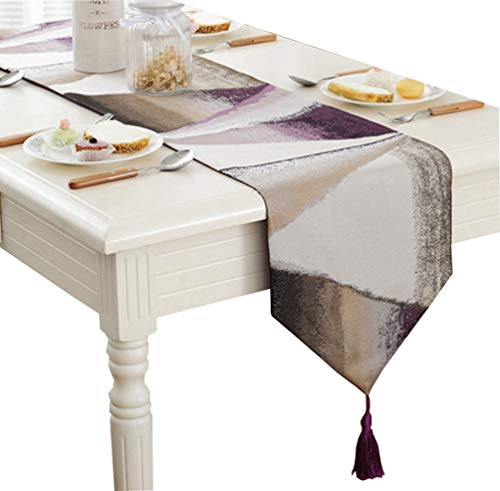 ZebraSmile Ombre Gemetric Table Runners with Tassels Polyester Jacquard Elegant Striped Fall Table Runners for Home Kitchen Dining Table Decoration, Purple 13 X 64 Inch (Ribbon Dot Jacquard)