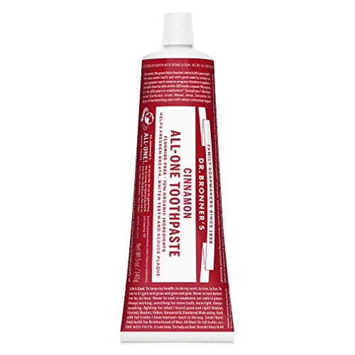 Dr. Bronner's - All-One Toothpaste (Cinnamon, 5 ounce) - 70% Organic Ingredients, Natural and Effective, Fluoride-Free, SLS-Free, Helps Freshen Breath, Reduce Plaque, Whiten Teeth, Vegan (Cinnamon Essential O)