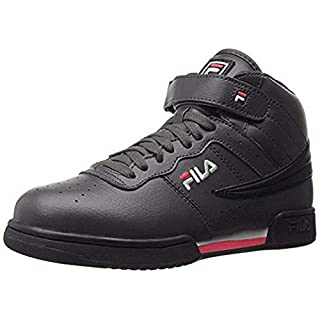 Fila Men's f-13v lea/syn Fashion Sneaker, Black/White Red, 9.5 M US