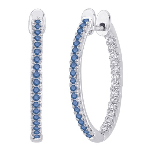 Blue and White Diamond ''In and Out'' Hoop Earrings in Sterling Silver ( 1/3 cttw) by KATARINA