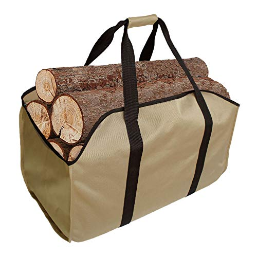 KHIKILY Heavy Duty Large Canvas Log Tote Bag Carrier Indoor Fireplace   Firewood Carriers Totes Holders Woodpile Rack for Outdoor Tubular Birchwood Stand Hearth Stove Tools Set Basket (Color 2)